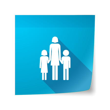 single parent: Illustration of a long shadow vector sticky note icon with a female single parent family pictogram