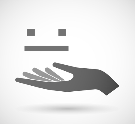 emotionless: Illustration of an isolated vector hand giving a emotionless text face