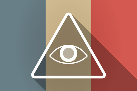 all seeing eye: Illustration of a long shadow flag of France vector icon with an all seeing eye Illustration