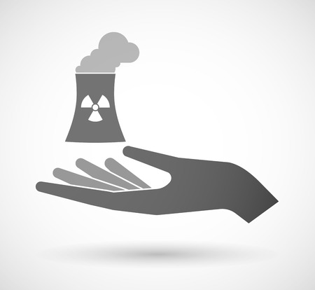 cooling tower: Illustration of an isolated vector hand giving a nuclear power station Illustration