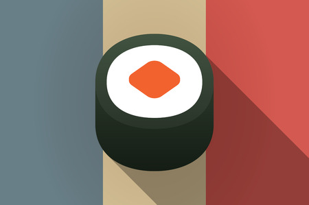 delicacy: Illistration of a long shadow flag of France vector icon with a piece of sushi maki