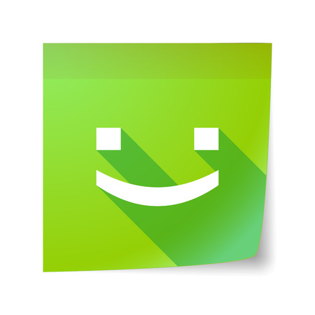 sticky note: Illustration of a long shadow vector sticky note icon with a smile text face