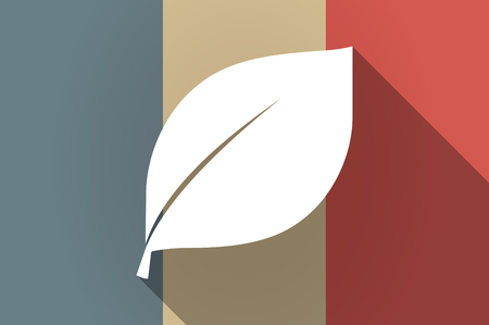 Illistration of a long shadow flag of France vector icon with a leaf