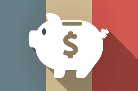 financial official: Illustration of a long shadow flag of France vector icon with a piggy bank Illustration