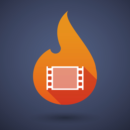 documentary: Illustration of a long shadow vector flame icon with a film photogram Illustration