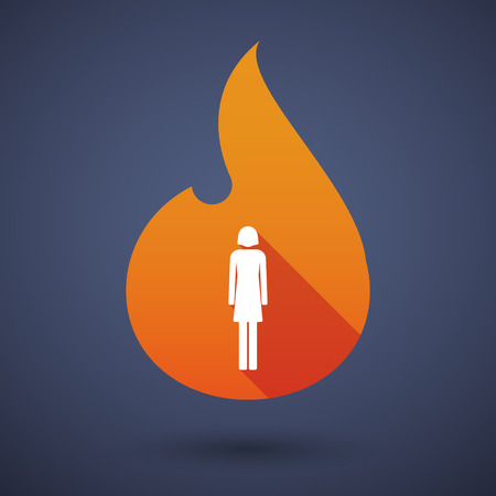 abstract fire: Illustration of a long shadow vector flame icon with a female pictogram