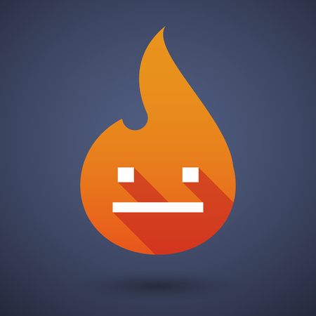 emotionless: Illustration of a long shadow vector flame icon with a emotionless text face Illustration