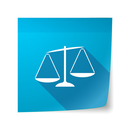 unbalanced: Illustration of a long shadow vector sticky note icon with  an unbalanced weight scale Illustration