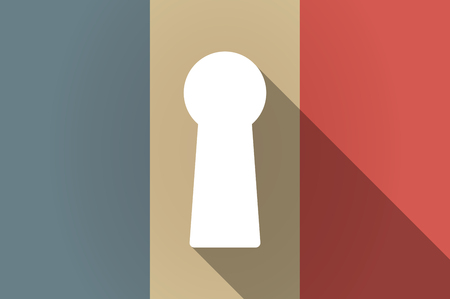 key hole: Illustration of a long shadow flag of France vector icon with a key hole