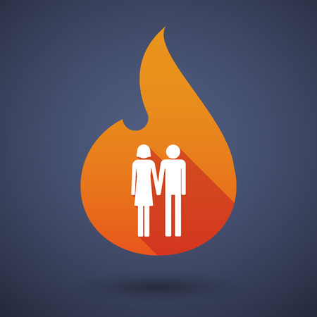 heterosexual couple: Illustration of a long shadow vector flame icon with a heterosexual couple pictogram Illustration
