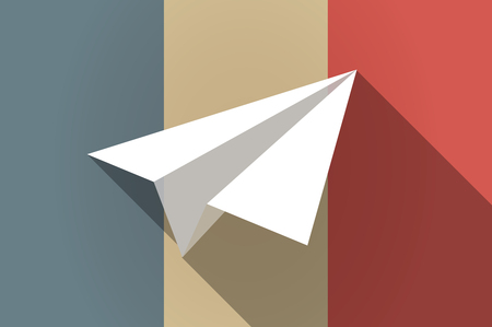plane vector: Illustration of a long shadow flag of France vector icon with a paper plane