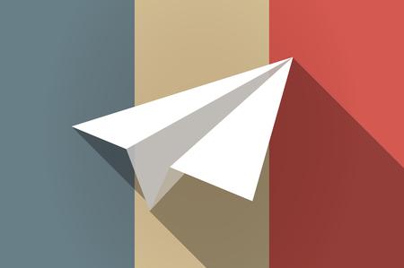 aereo: Illustrazione di una lunga bandiera ombra della Francia vettore icona con un aeroplano di carta Vettoriali