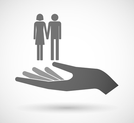 heterosexual couple: Illustration of an isolated vector hand giving a heterosexual couple pictogram Illustration