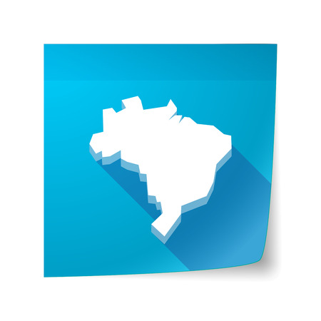 sticky note: Illustration of a long shadow vector sticky note icon with  a map of Brazil