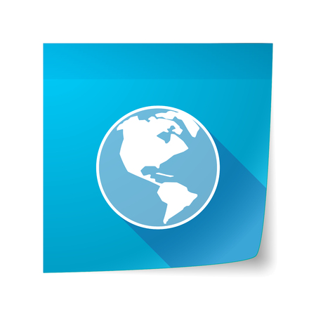 sticky note: Illustration of a long shadow vector sticky note icon with an America region world globe