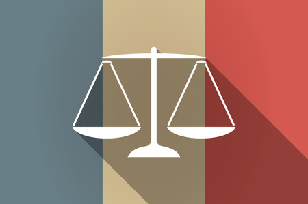 tribunal: Illustration of a long shadow flag of France vector icon with a justice weight scale sign Illustration