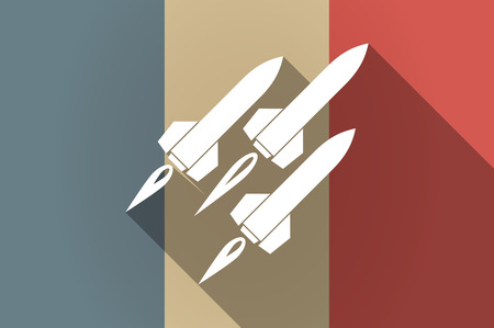 missiles: Illustration of a long shadow flag of France vector icon with missiles
