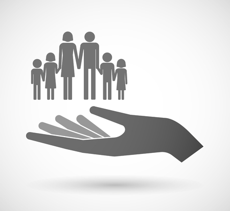 pictogram people: Illustration of an isolated vector hand giving a large family  pictogram