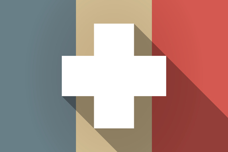 pharmacy sign: Illistration of a long shadow flag of France vector icon with a pharmacy sign