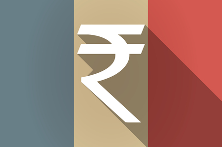 rupee: Illustration of a long shadow flag of France vector icon with a rupee sign