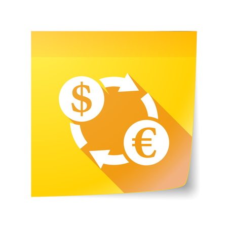 sticky note: Illustration of a long shadow vector sticky note icon with a dollar euro exchange sign Illustration