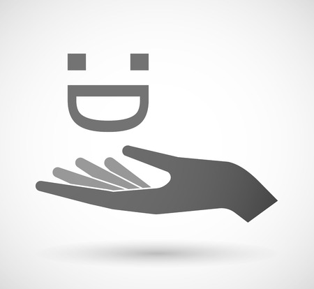 open type font: Illustration of an isolated vector hand giving a laughing text face Illustration