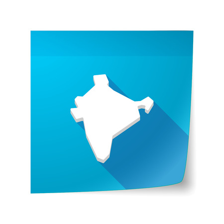 sticky note: Illustration of a long shadow vector sticky note icon with  a map of India Illustration
