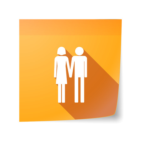 sticky note: Illustration of a long shadow vector sticky note icon with a heterosexual couple pictogram Illustration
