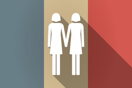 lesbienne: Illustration d'un drapeau de la France vecteur ic�ne longue ombre avec un couple pictogramme lesbiennes Illustration
