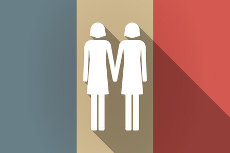 lesbian: Illustration of a long shadow flag of France vector icon with a lesbian couple pictogram