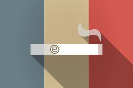 e cigarette: Illustration of a long shadow flag of France vector icon with an electronic cigarette Illustration
