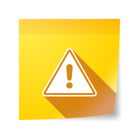 sticky note: Illustration of a long shadow vector sticky note icon with a warning signal Illustration