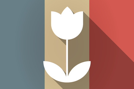 Illustration of a long shadow flag of France vector icon with a tulip