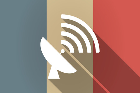 world receiver: Illistration of a long shadow flag of France vector icon with a satellite dish