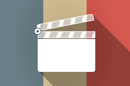 french board: Illustration of a long shadow flag of France vector icon with a clapperboard Illustration