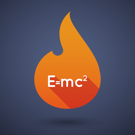 relativity: Illustration of a long shadow vector flame icon with the Theory of Relativity formula Illustration