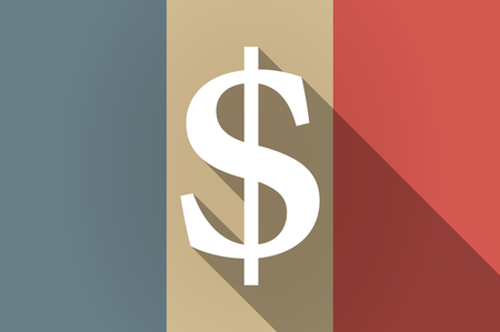 dollar icon: Illustration of a long shadow flag of France vector icon with a dollar sign