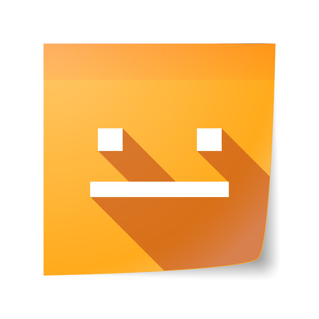 emotionless: Illustration of a long shadow vector sticky note icon with a emotionless text face Illustration