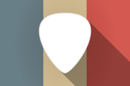 plectrum: Illustration of a long shadow flag of France vector icon with a plectrum