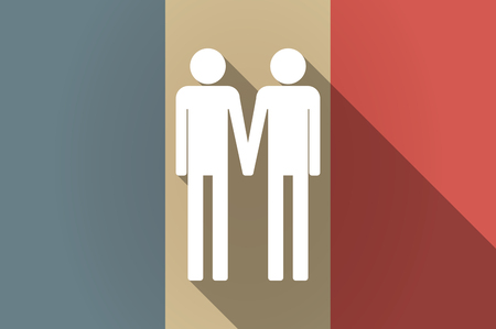 gay couple: Illustration of a long shadow flag of France vector icon with a gay couple pictogram