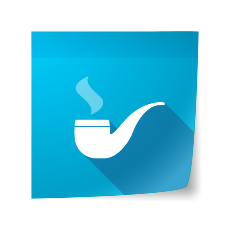 sticky note: Illustration of a long shadow vector sticky note icon with a smoking pipe Illustration