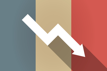 descending: Illistration of a long shadow flag of France vector icon with a descending graph