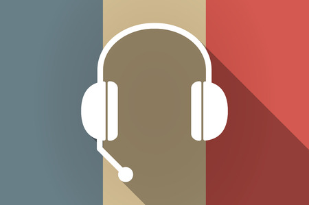 hands free phone: Illustration of a long shadow flag of France vector icon with  a hands free phone device Illustration