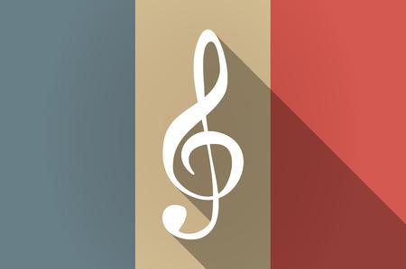 clave de sol: Ilustración de una bandera larga sombra de Francia icono de vector con clave de ag