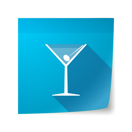 vermouth: Illustration of a long shadow vector sticky note icon with a cocktail glass