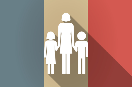 single parent: Illustration of a long shadow flag of France vector icon with a female single parent family pictogram