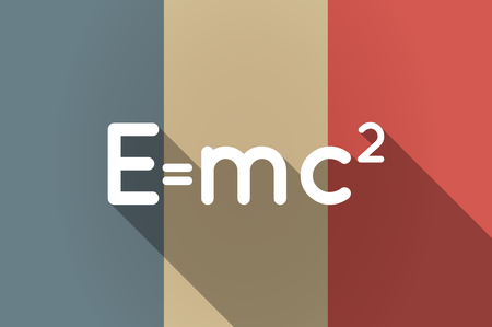 relativity: Illustration of a long shadow flag of France vector icon with the Theory of Relativity formula
