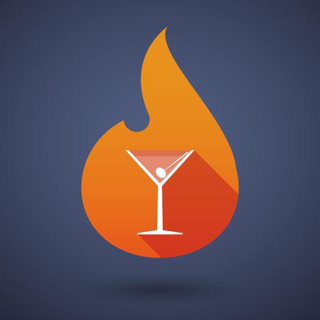 llamas de fuego: Ilustraci�n de un icono del vector de la llama larga sombra con una copa de c�ctel