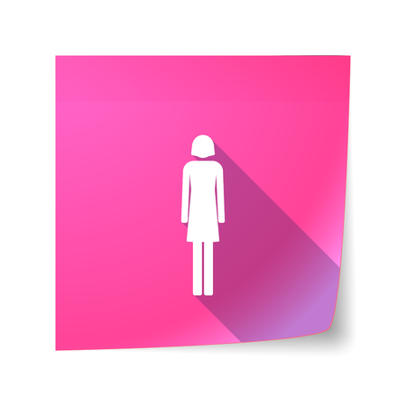 sticky note: Illustration of a long shadow vector sticky note icon with a female pictogram