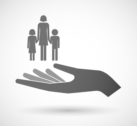 single family: Illustration of an isolated vector hand giving a female single parent family pictogram
